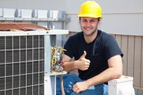 air conditioning specialist with thumbs up